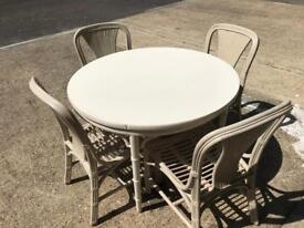Cane Cream/off white round table & 4 chairs