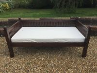 Antique Solid Wood Day Bed with Mattress