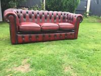 Oxblood original 3 seater leather Chesterfield sofa can deliver