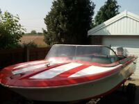 speed boat 125hp evinrude motor and trailer