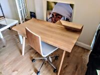 MADE COM Cornell Desk, Ash + Dolly Office Chair, Ash and White RRP 368