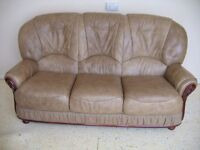 Beige three piece suite, great condition with minor scuffs at the corners of the base