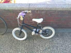 Kids black white BMX 16 in wheels