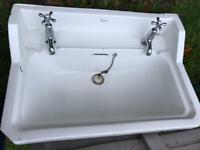 Victorian style white ceramic sink with taps - 50cm