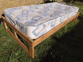 Pine wood bed frame, single, with mattress