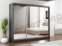 🔴MAKE THE COMFORT DEAL🔵-Lux 3 Door Sliding Full Mirror Wardrobe in White and Black Color