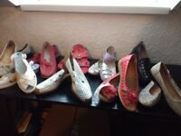 9 pairs of ladies assorted shoes/ sandals size 3