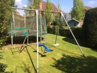 TP double swing frame with trapeze and rings and seesaw rider