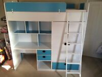 Oxford Blue And White High Sleeper Bed With Wardrobe, Drawers, Desk And Shelves