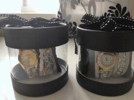 2 Womens Fashion Casual Analog Quartz Women Rhinestone Watch Bracelet Watches