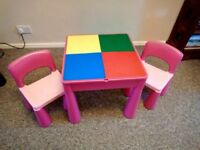 CHILDS 3 IN 1 LEGO/WATER/SAND PLAY TABLE & CHAIRS, PINK