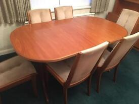 Solid Teak Extending Dining Table and Six Chairs