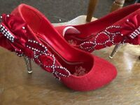 Red glittered decorated high heels size 7