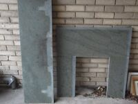 MARBLE HEARTH & BACK PANEL. FIREPLACE