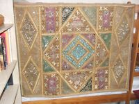 Colourful asian style wall-art tapestry with wall fittings