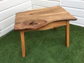 Solid Elm hand made live edge hard wood coffee table.