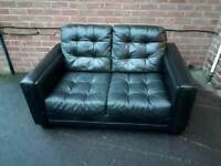 Black leather 3 + 2 sofa satee