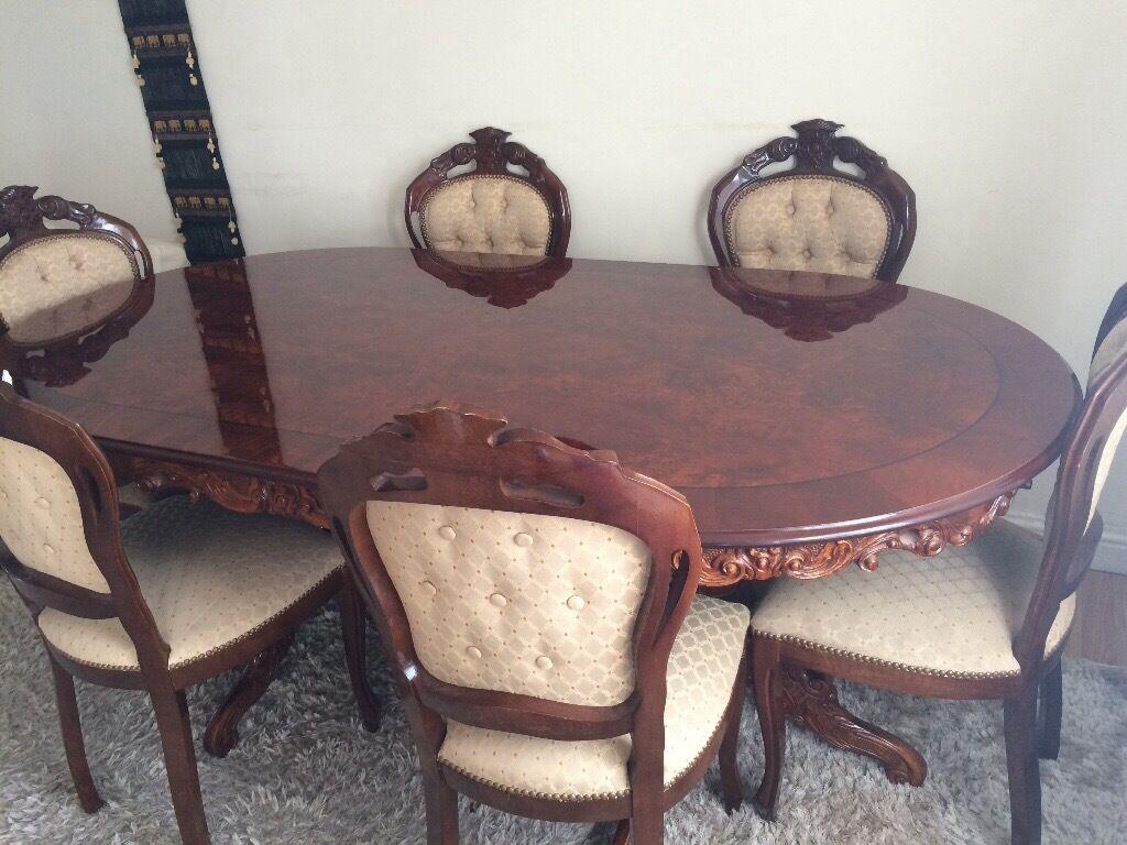 Beautiful Italian Dining Table 6 Chairs