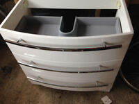 Stunning White Gloss Vanity Unit-brand new bought & never used, three drawers, with chrome handles