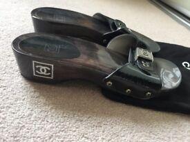 Chanel Black patent clog mule slider size Eu 36