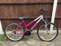 "Ladies mountain bike 26"" wheels, front suspension, 18 gears"