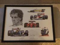 Formula 1 framed print tribute to Alain Prost
