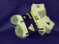 Mens Adidas Sports Running Cushioned Ankle Socks. 6 Pack. White. Size 6-11