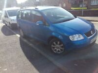 VW TOURAN/1.9TDI/105BHP/METALLIC BLUE/15 INCH ALLOYS/ELECTRIC WINDOWS/CD PLAYER/MANUAL/POWER STEERIN