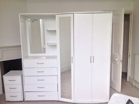 Wardrobe and shelf / drawer / mirror unit white + bedside table