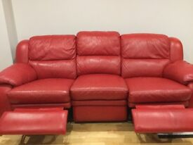 Red Leather Electric Reclining 2 Seater & 3 Seater Sofas