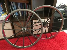 Very rare Mike Burrows Carbon/Rigida DP18 clincher wheelset, with skewers and Shimano 105 cassette.