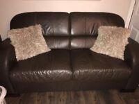 Brown Real Leather Sofa Bed
