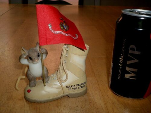[U.S. MARINE CORPS] COMBAT BOOT & MOUSE FIGURINE STATUE, RESIN MATERIAL, VINTAGE