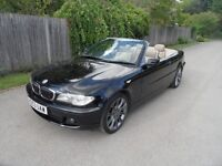 BMW 330 Ci Convertible SE 6speed, 53 reg, Black/ tan leather high/spec/extras car Sat-Nav/Tv/sterio