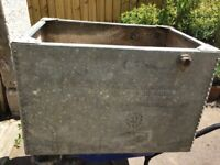 Large Reclaimed Galvanised Riveted Tank Planter.