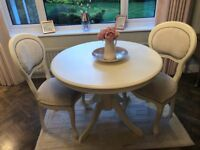Cream table & 2 studded chairs, spray painted in good condition