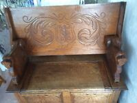 Oak monk's bench with beautiful carved wood £200