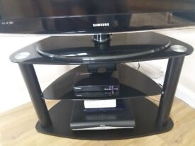 Black and Chrome TV stand with Glass Shelf
