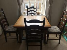 Extendable dining table + chairs - solid wood