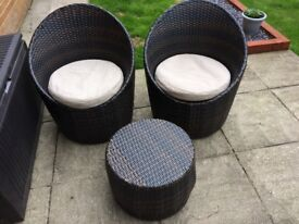 Pair of Rattan chairs with cushions and stool