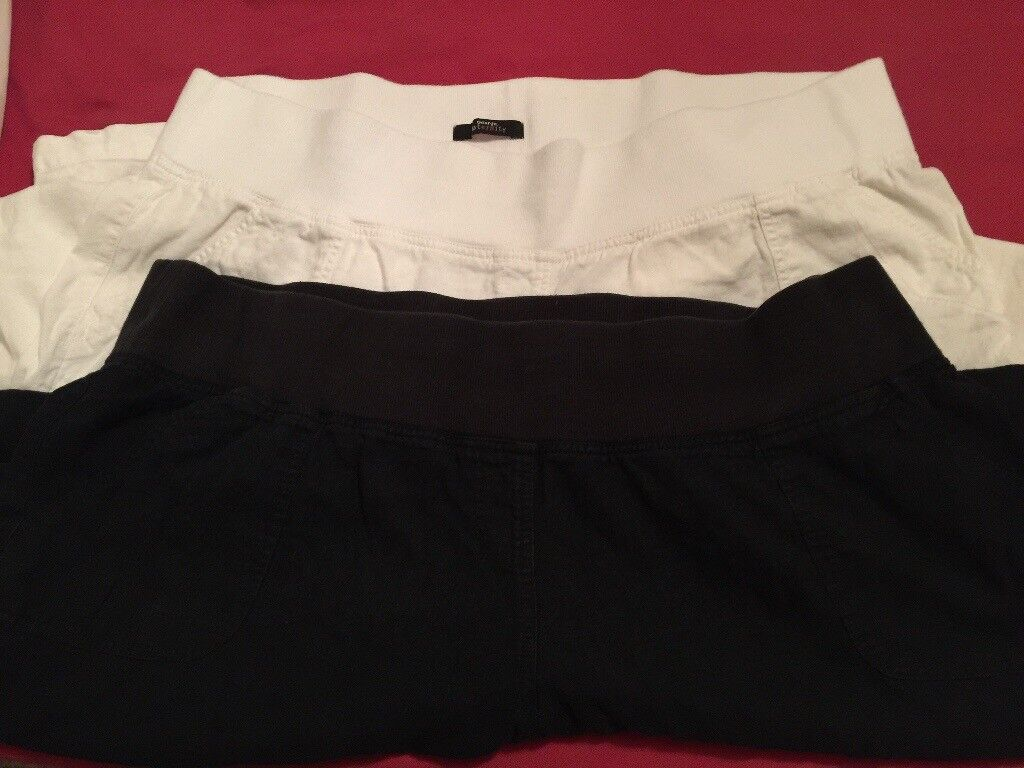 2 pairs of maternity linen trousers size 22