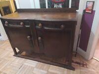 Solid Dark Wood Vintage Sideboard