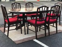 Extendable Dining Table & 6 Chairs (@07519500790)