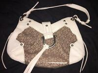 White and beige, Half leather and monogram dkny bag