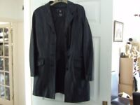 Ladies Black Leather jacket approx size 12 - see measurements