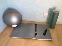 Excercise ball and mat