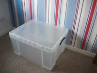 "large plastic storage box with lid ""really useful box "" 145 litres"