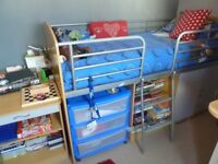 Childs Cabin bed with cupboard and desk (Gray Doors)