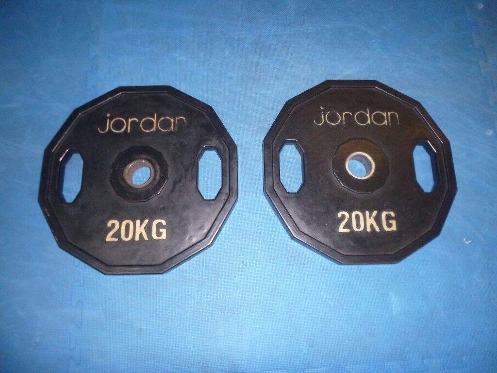 2 x JORDAN 20KG OLYMPIC HEX WEIGHTS PLATES (PAIR)