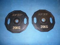 2 x JORDAN 20KG OLYMPIC HEX WEIGHTS PLATES (PAIR)
